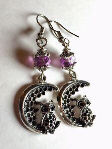 Owl On Moon Charm Dangle Earrings With Purple Crystal