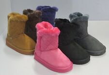 Girl Winter Classic Boots Quilted TODDLER Blacks Pink Camel (bfd05i)