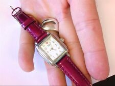 Pre Owned Ladies MICHELE Deco MINI MOP Leather Wrist Watch. READ DESCRIPTION!
