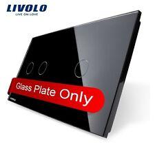 Original  Livolo 2 Fach Glasabdeckung für Touch Lichtschalter Schwarz  2G+1G