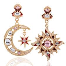 Boucles d'Oreilles Clou Doré Chandelier Lune Etoile Renaissance Email Rouge XX23