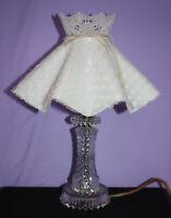 Vintage Glass Lamp w Plastic Ruffled Clip On Lamp Shade ~ Dresser Vanity