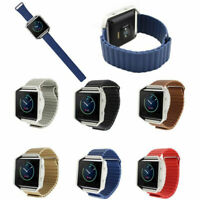 For Fitbit Blaze Contracted Metal Leather Watch Band Strap Magnetic Buckle US
