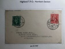 1947 Highlands England Postcard Cover Traveling Post Office Tpo To Manchester