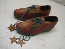 Vintage Hand Tooled Leather Dancing Clogs Americana Shoes Star Decorated Childs