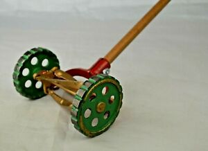 """Arcade Childs Toy Push Lawnmower Cast Iron 22 1/2"""" Long Excellent With Repair"""