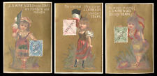 3 KIRK & CO's SOAP TRADE CARDS, PRETTY STAMP GIRLS, ITALY, GERMANY. & SPAIN C868