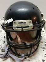 SCHUTT YOUTH RECRUIT HYBRID SIZE MEDIUM FOOTBALL HELMET BLACK w/ CHIN STRAP