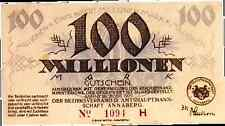 1923 Germany 100.000.000 / 100 million Mark Banknote Annaberg