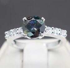 1.28cts 7.14mm Fancy Dark Bluish Green Diamond Size 7 Ring & $640 Retail Value..