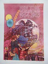 Original Vintage 1964-1965 New York World's Fair Travel Poster Bob Peak -Airline