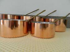 More details for vintage french copper pan set - 5 pans