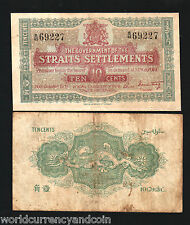 STRAITS SETTLEMENTS 10 CENTS P8 1919 MALAYSIA SINGAPORE RARE CURRENCY MONEY NOTE