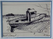 Geoffrey Alan Rock Pen Drawing Ship Marine Landscape 1971 Canadian Listed Artist