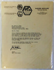 1974 MB Technical Services Letterhead to Donald Drake SIGNED by JIM MCKEOWN