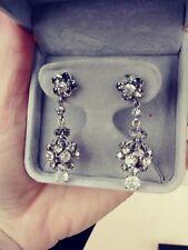 Vintage Crystal Rhinestone Dangle Chandelier Rotating Art Deco Clip On Earrings