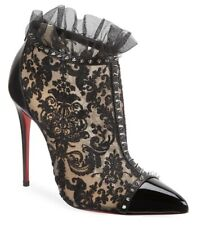 Christian Louboutin Pigalla 100 Black Patent Nude Lace Mesh Ankle Heel Boot 40