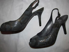 STUART WEITZMAN LITELY snake embossed pearlescent green peep tow slingback shoes