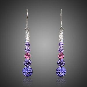 Brand New Sparkly Multi Color Purple Austria Crystals Drop Dangle Women Earrings