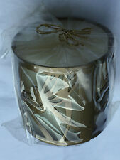 Natural Paraffin Pillar Candle Decorative Butterfly Design Gold Metal Holder NEW