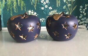 2 x Blue & Gold Apple Tea Light Holders with stars Christmas Decoration Vintage