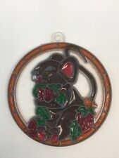 """Faux Stained Glass Plastic Sun Catcher Brown Mouse 3 3/4"""" Circle"""