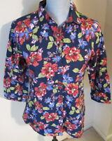 Women's Size 6 Lands' End 3/4 Sleeve Button Down Shirt