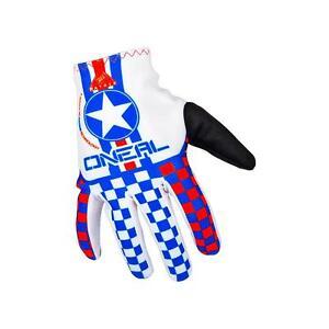 O'Neal Matrix Wingman Gloves White/Blue/Red 2016 - Lightweight Mountain Bike