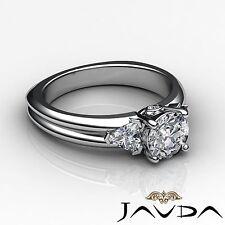 Three Stone Natural Round Cut 1.6ct Diamond Engagement Ring GIA F SI1 Platinum