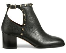 Valentino Rockstud City Black Leather Stud Block Heel Cut Out Ankle Bootie 36