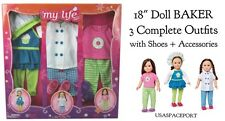 """My Life As 18"""" Doll Clothing BAKER Chef Shoes Sleepwear Cook Set 4 American Girl"""