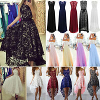 Women Long Chiffon Lace Sleeveless Evening Party Ball Gown Prom Bridesmaid Dress