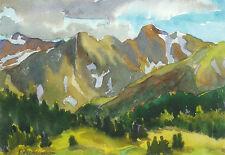"Pam Furumo ""Never Summer Mountains"" Original Watercolor, Oil & Pastel Painting"