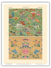 Chinois Chinese Floral Patterns - Racinet 1888 Vintage Lithograph Print Print