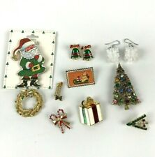 Lot Vtg Christmas Brooches Earrings Stamp Pin Tree Candles Candy Canes Wreath