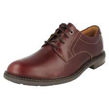 Clarks Unstructured *UNELOTT PLAIN* Burgundy Leather Shoe Men WIDE-FIT UK-9 43 H