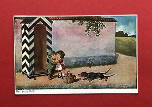 Künstler AK von Ad. Hofmann 1917 Kinder mit Dackel Der erste Kuss Teckel ( 59959