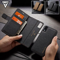For iPhone 11 Xs Max Xr 7 8 6s Removable Leather Wallet Magnetic Flip Case Cover