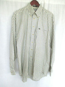 Faconnable Men's Shirt Large Black & Cream Check Long Sleeves NEW WITH TAG