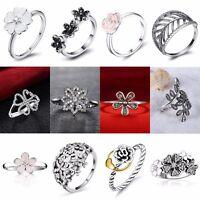 CZ Crystals Flower Design 925 Silver Wedding Ring Fashion Women Jewelry Hot Gift
