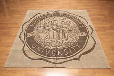 6' x 6' square hand knotted Tibetan Kentucky University Wool Area rug 6x6 Tan