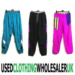 25 VINTAGE SHELL SUIT TRACK BOTTOMS RETRO SPORTS PANTS WHOLESALE CLOTHING JOBLOT