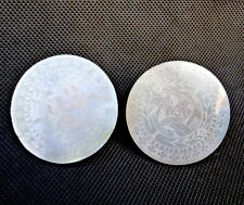 Antique Chinese Mother Of Pearl MOP Gaming Token Counter Chip Earrings