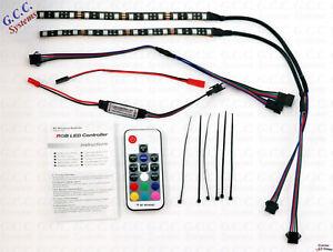 2x 200mm Waterproof MultiColour RF Remote RGB RC Car Rear LED Under Lighting KIT
