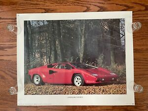 1985 LAMBORGHINI COUNTACH Poster High Performance Exotic Sports Car Red Italian
