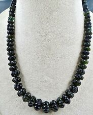 285 CTS TOURMALINE  CARVED MELON BEADS NECKLACE WITH 925 SILVER HOOK