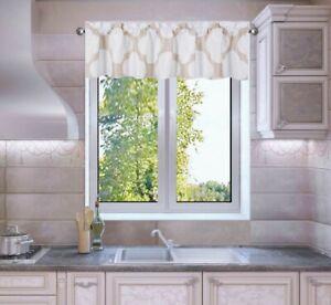 1-3PC SET KITCHEN SMALL PANELS VALANCE LINED WINDOW CURTAIN GEOMETRIC PRINTED FS