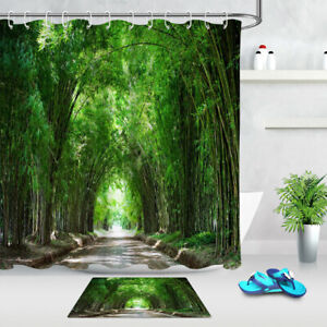 Green Bamboo Forest Road Path Scenic Waterproof Fabric Shower Curtain Set 72/79""