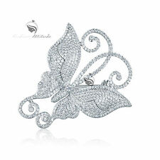 18K WHITE GOLD GP MADE WITH SWAROVSKI CRYSTAL LUXURY BUTTERFLY BROOCH
