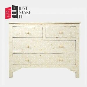 Bone Inlay Chest of Drawer White Floral (MADE TO ORDER)